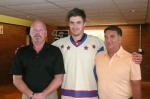 River Kings head coach Al Wager, player Sasha Pokulok and GM Wayne Veary.